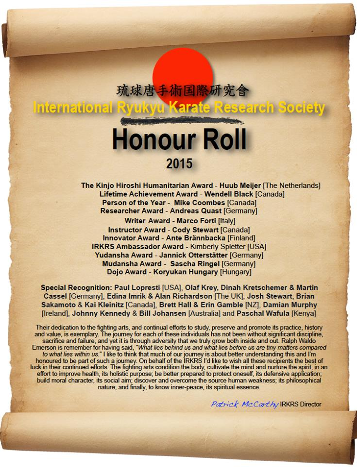 IRKRS Honour Roll 2015